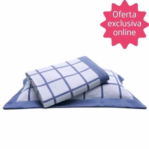 Colcha Solteiro King Tognato Quadri - 100% Algodão - Tirreno Azul